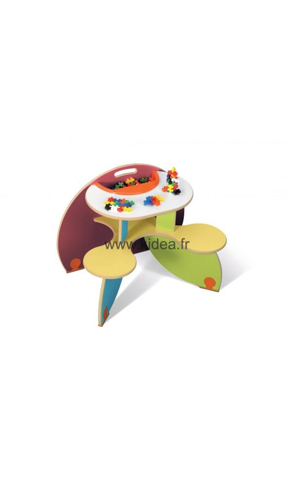 table avec bac rangement pour enfants duo colors. Black Bedroom Furniture Sets. Home Design Ideas