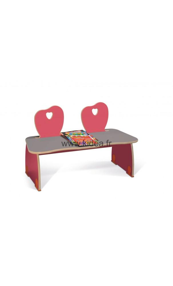 banc rouge pour 2 enfants. Black Bedroom Furniture Sets. Home Design Ideas