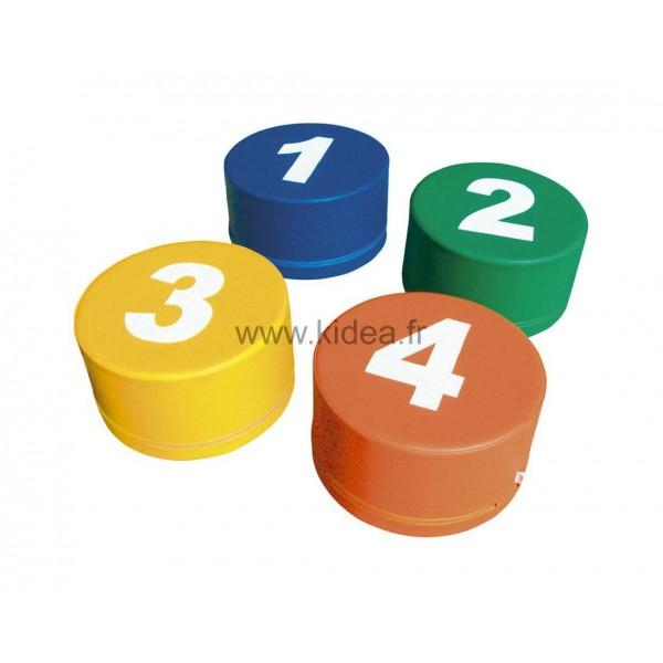 4 assises en mousse - Motifs nombres
