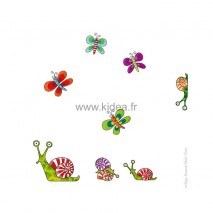 Sticker Papillons et escargots