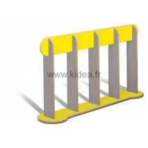 Barrière de délimitation jaune et grise