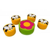 Ensemble table fleur et 4 asssises abeilles