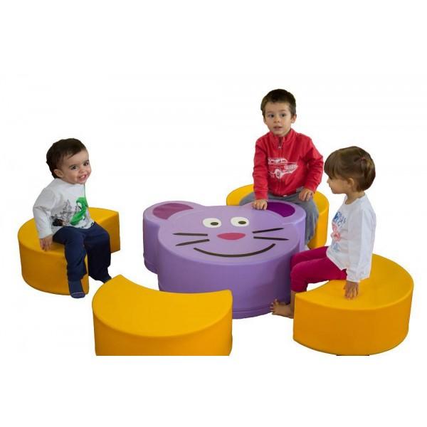 Ensemble table souris et 4 assises fromage