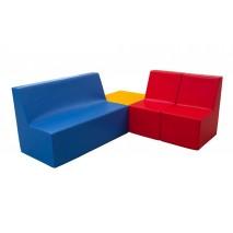 Ensemble table, canapé et 2 fauteuils en mousse