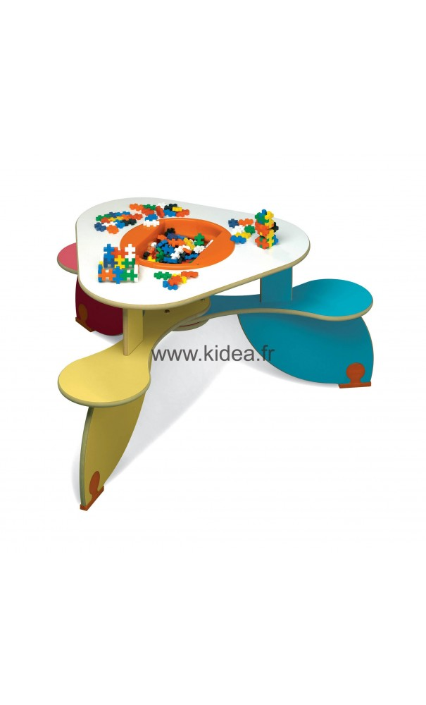 table avec bac jouets trio colors. Black Bedroom Furniture Sets. Home Design Ideas
