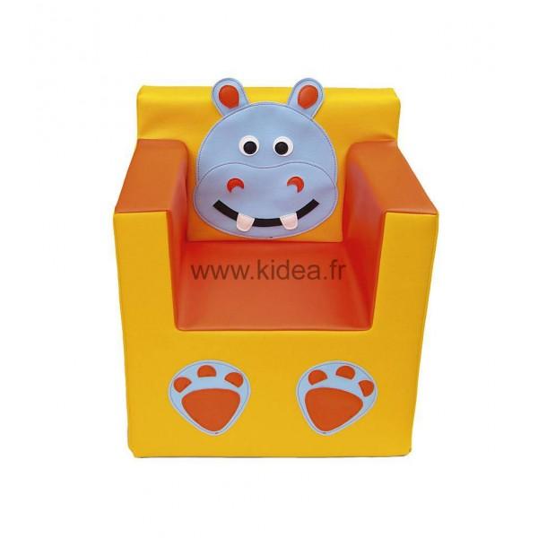 Fauteuil en mousse avec dossier et accoudoirs - Motifs hippopotame