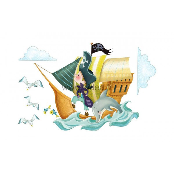Sticker Pirate - Bateau de pirates