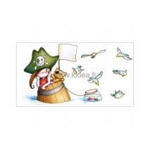 Sticker Pirate - Pirata naufragée