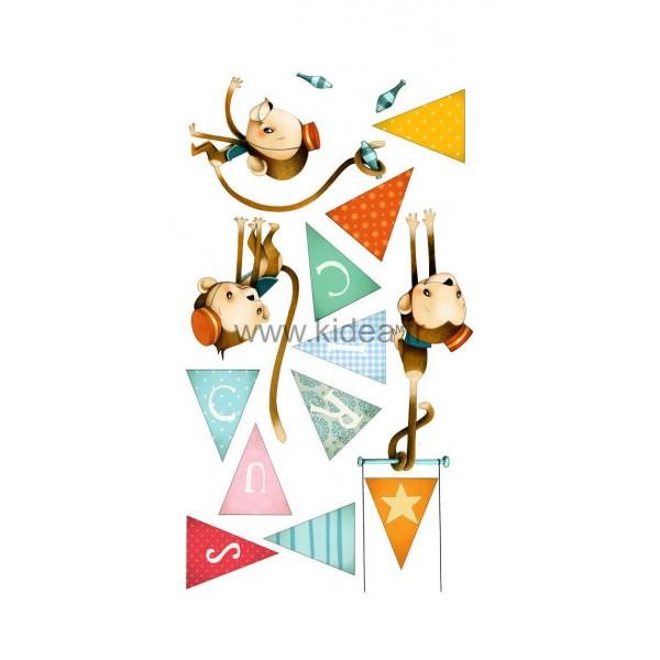 Sticker Cirque - Les singes acrobates + Guirlande