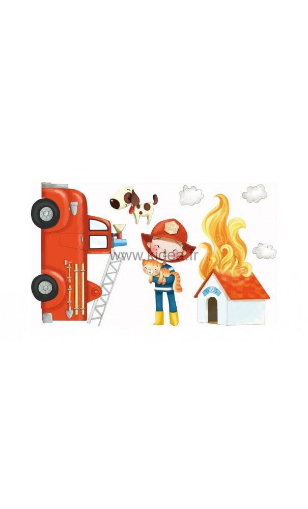 Sticker les pompiers arrivent pour une d coration for Decoration professionnelle