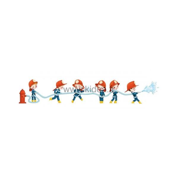 Sticker Pompier - Frise les pompiers arroseurs