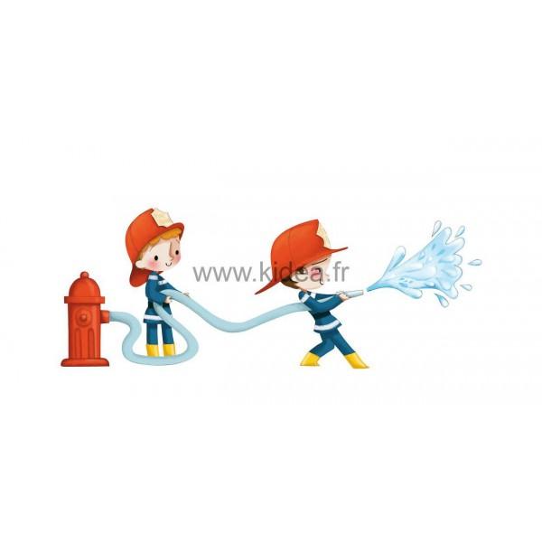Sticker Pompier - Les pompiers arroseurs