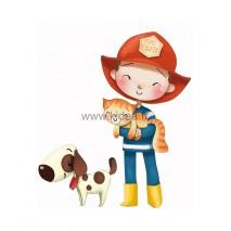 Sticker Pompier - Le pompier et son chien Elvis