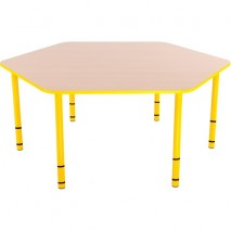 Table enfant hexagonale réglable - de 40 à 58 cm