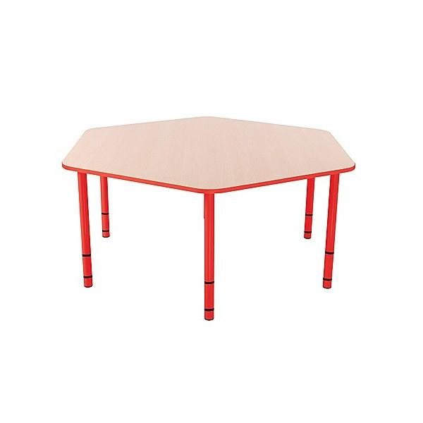 Table enfant hexagonale réglable - de 40 à 58 cm