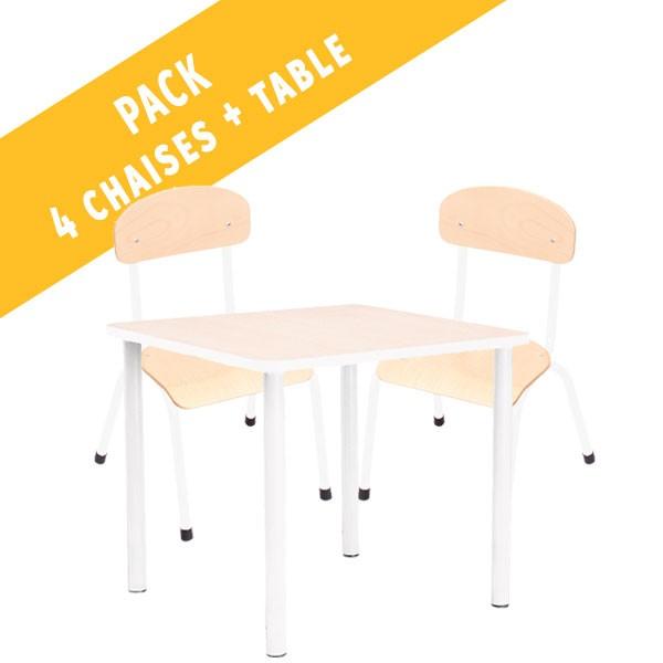 Pack table carrée et 4 chaises - T0