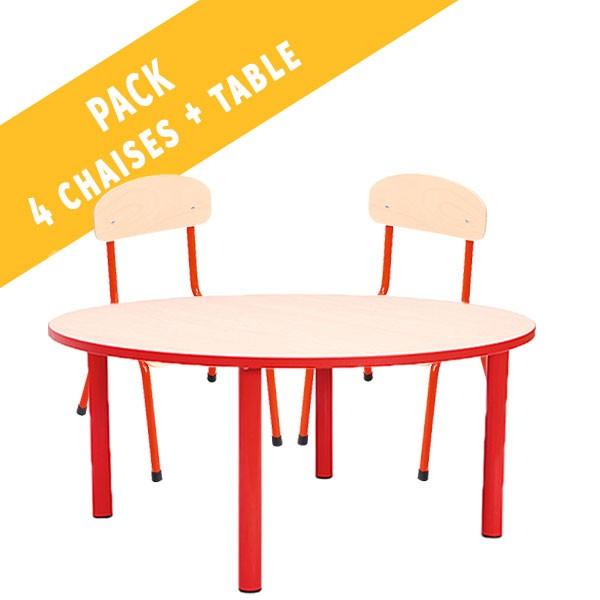 Pack table ronde et 4 chaises - T1 à T3