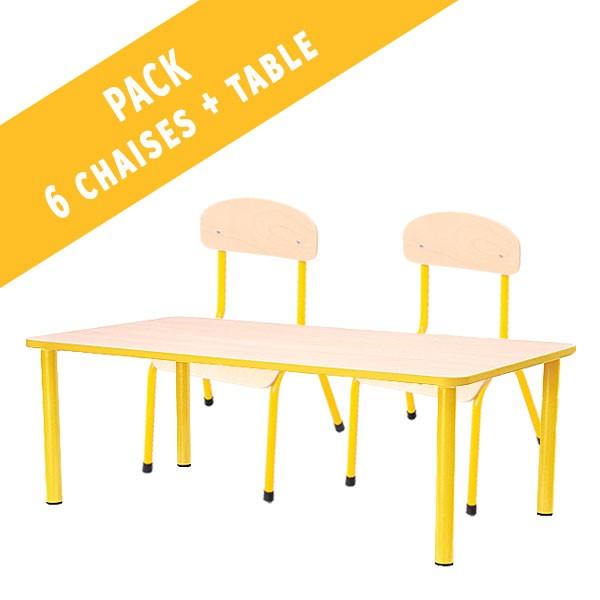 Pack table rectangulaire et 6 chaises - T1 à T3