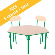 Pack table hexagonale et 6 chaises - T1 à T3