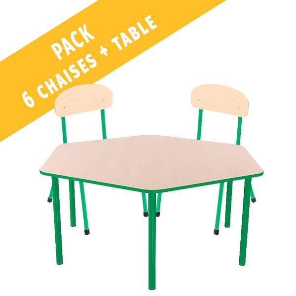 Pack table hexagonale et 6 chaises - T1 à T3