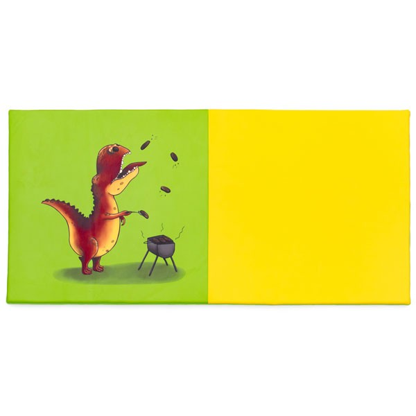Tapis motricité bicolore - motif dinosaure barbecue