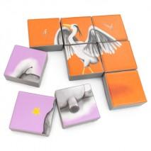 Puzzle double face en mousse (9 pièces) - Héron et Rhinocéros
