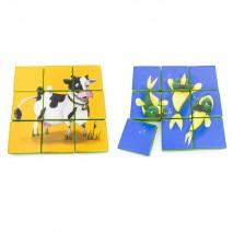 Puzzle double face en mousse (9 pièces) - Vache et Poissons