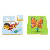 Puzzle double face en mousse (9 pièces) - Libellule et Papillon