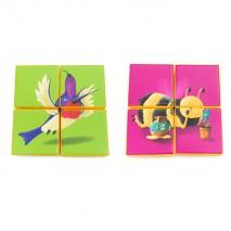 Puzzle double face en mousse (4 pièces) - Colibri et Abeille