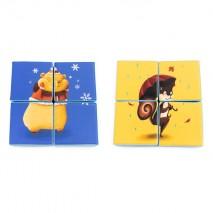 Puzzle double face en mousse (4 pièces) - Hamster et Ecureuil