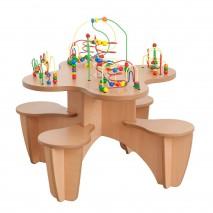 Table boulier avec assises intégrées