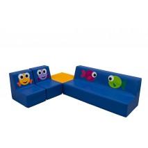 Ensemble canapé, fauteuils et table en mousse - Motifs poissons