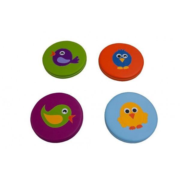 4 coussins circulaire - Motifs oiseaux